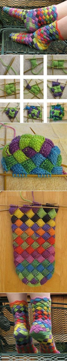 Lonely Socks Club: Entrelac Sock pattern by Natalia Vasilieva bunte Socken stricken: tolle Technik Crochet Socks, Knit Or Crochet, Knitting Socks, Knitting Stitches, Knit Socks, Booties Crochet, Yarn Projects, Knitting Projects, Crochet Projects