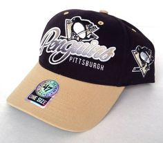 best service 091b4 57a89 NEW 47-brand PITTSBURGH PENGUINS HAT Black Tan Curved-Bill Men Women