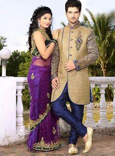 JuteSilk Fabric Beige Color Sherwani For Mens
