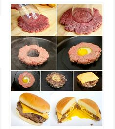 Hamburger with egg in the middle