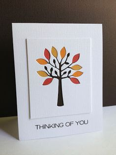 I simply cannot stop creating with this All Seasons Tree die from Simon Says Stamp! I have a couple more to show you today.I love sho. Card Tags, I Card, Gift Cards, Karten Diy, Cricut Cards, Die Cut Cards, Fall Cards, Sympathy Cards, Greeting Cards Handmade