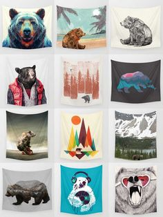 Society6 Bear Tapestries - Society6 is home to hundreds of thousands of artists from around the globe, uploading and selling their original works as 30+ premium consumer goods from Art Prints to Throw Blankets. They create, we produce and fulfill, and every purchase pays an artist.