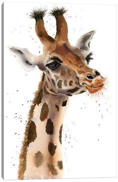 Canvas Art by Olga Shefranov | iCanvas Giraffe Painting, Giraffe Art, Cute Giraffe, Giraffe Images, Watercolor Animals, Watercolor Art, Jungle Animals, Cute Animals, Giraffe Illustration