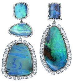 Irene Neuwirth - Diamond Collections - Mismatched Boulder Opal & Diamond Earrings.