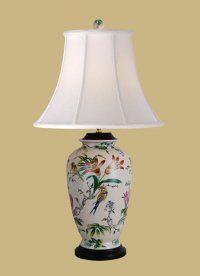 "East Enterprises LPDBFB1014A Porcelain Bird and Lily table lamp. 30""H, 3-way, 150 watt."