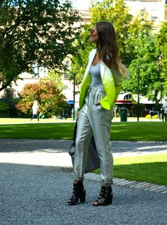 Edgy cool in metallics and neon. TopShelfClothes.com