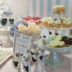 Sweets table at a Baby Mickey baby shower party! See more party planning ideas at CatchMyParty.com!