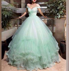 Elegant Cap Sleeve Wedding Dresses 2016 Bridal Ball Gowns V Neck Mint Green Tulle Wedding Gown Vestido De Noiva Tomara Que Caia
