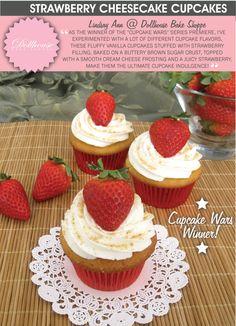 28 Popular Blog's Favorite Cupcake Recipes: strawberry cheesecake cupcakes (this recipe won a Cupcake War!)