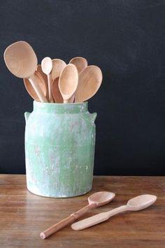 Large Hand-Carved Baker's Dozen Wood Spoons