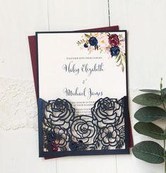 Laser Cut Wedding Invitation suite Navy and Marsala Wedding