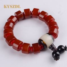 KYSZDL Natural genuine red chalcedony agate abacus beads bracelet Lucky Wang Yun jewelry gifts