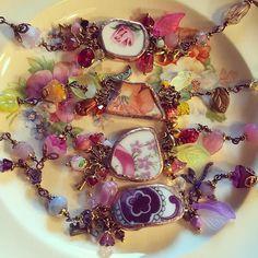 Just born yesterday! Broken China bracelets #soldering #brokenchina #brokenchinajewelry #handmade #bracelet #flowers #flowerjewelery #etsy #etsyshop