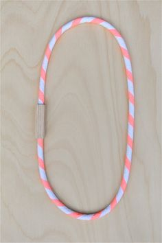 NEON Salmon Pink STRIPE - Cotton and WOOD Necklace