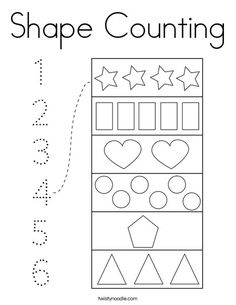 Shape Counting Coloring Page - Twisty Noodle Preschool Activity Sheets, Preschool Learning Activities, Free Preschool, Preschool Worksheets, Counting Worksheet, Children Activities, Shapes Worksheets, Tracing Worksheets, Shape Coloring Pages