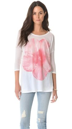 SUNDRY Flower Print 3/4 Sleeve Top