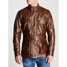 Belstaff Panther Hand-Waxed Leather Belted Jacket