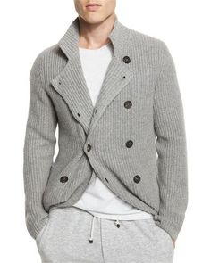 N40LC Brunello Cucinelli Double-Breasted Shaker-Knit Cashmere Cardigan