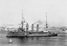Monmouth class armoured cruiser HMS Suffolk, commissioned in 1903.  She was Admiral Beatty's command as a Captain: when he was reprimanded by the Admiralty for wearing the ship out through too much high speed running his heiress American wife said she would 'buy another'!  She survived WW1.