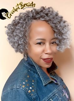 """I love it when a client says """"I trust you"""" and let's me do my thing. She didn't choose this hair but it definitely chose her! Crochet Braids with Natty Mega Twist Braid 10"""" in color T/Silver. This ombre colored hair comes twisted, so I unraveled each piec"""