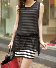 Casual Scoop Neck Sleeveless Striped Sundress   Solid Color Chiffon Dress Twinset For Women