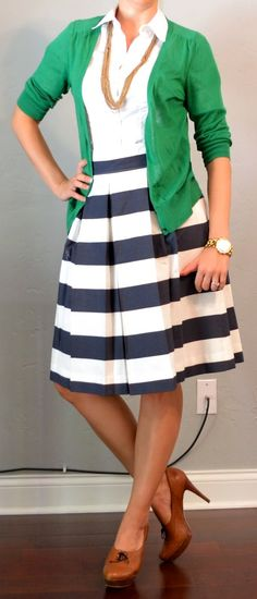 A full, pleated, striped skirt with a classic white button up and a cardigan for the office. Love navy and green together.... and the shoes. Refer to this again for other good outfits
