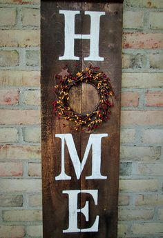 As for Me and My HOME we will serve the Lord ~ I was looking for a way to display this scripture and declaration onto a rustic porch sign and this is what was created. This reversible reclaimed oak hard wood sign is stained on one side in Early American with the words hand painted in