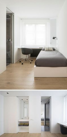 This simple bedroom has a single bed with a built-in floating desk. An ensuite bathroom is attached and is also shared with a second bedroom on the other side. Home Bedroom Design, Bed Design, Luxury Bedroom Furniture, Luxury Bedding, Single Bedroom, Luxurious Bedrooms, Bedroom Sets, Bedding Sets, Floating Desk
