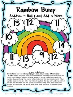 Addition Games 35 Addition Bump Games by Games 4 Learning - This collection of addition games contains 35 Addition Bump Games that review a variety of addition skills adding to 20.