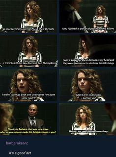 """I don't feel insane, now. I just feel sad"" - Barbara and Hugo Strange #Gotham"