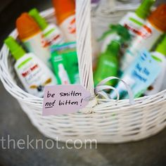 "Six Ways to Welcome your Wedding Guest.  ""Be smitten not bitten"" Bug spray for outdoor weddings!<3"