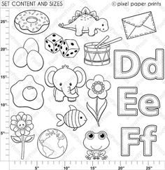 Alphabet Digital Stamps Part 2 DEF clip art by pixelpaperprints