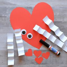 Kids will be giggly with excitement as they create a heart person and then watch the legs and arms bounce around on their Valentine's Day heart craft. Kinder Valentines, Valentine Crafts For Kids, Valentines Day Activities, Valentines For Kids, Walmart Valentines, Valentinstag Party, Valentine's Cards For Kids, Valentine's Day Crafts For Kids, Heart Crafts