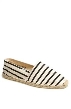 black and white stripe espadrilles // soludos
