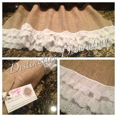 burlap & lace vintage inspired valance