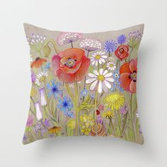 Spring Flora Throw Pillow by baba yagada - $20.00
