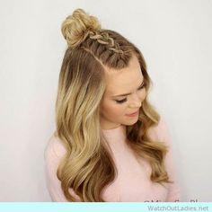 wedding hairstyles easy hairstyles hairstyles for school hairstyles diy hairstyles for round faces p Braided Top Knots, Top Braid, Top Bun, Braid Into Bun, Braid Crown, Braided Buns, Top Knot With Braid, How To Make Braids, Twisted Braid