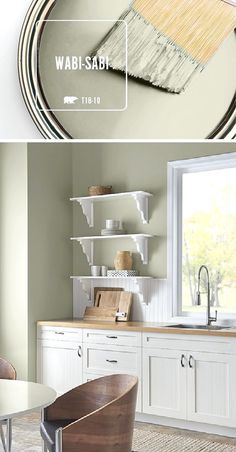 This kitchen is filled with natural light thanks to a fresh coat of BEHR Paint in Wabi-Sabi. When paired with light wood and bright white accents, this soft green hue helps to create a calming, natural color palette. Wabi-Sabi is part of the BEHR 2018 Col Paint Colors For Home, Room Colors, Kitchen Paint, Sweet Home, Interior, Room Paint, House Colors, Interior Paint Colors Schemes, Home Decor