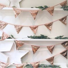 Rose Gold Sequin Bunting