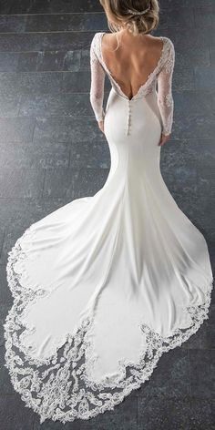 6817 Long-Sleeved Wedding Dress with Train by Stella York long sleeve wedding dresses Long-Sleeved Wedding Dress with Train - Stella York Wedding Dresses Wedding Dress Trumpet, Wedding Dress Tea Length, Lace Wedding Dress With Sleeves, Top Wedding Dresses, Wedding Dress Trends, Long Sleeve Wedding, Colored Wedding Dresses, Lace Dresses, Bridal Dresses