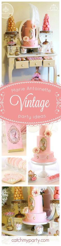 You must see this fabulous Marie Antoinette Vintage Birthday Party! The pink vintage cake is absolutely amazing!! See more party ideas at CatchMyParty.com