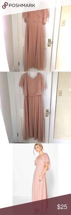 Pink Chiffon Maxi Dress Never worn chiffon maxi dress in a dusty rose pink. Has cape style sleeves that continue around the back of the dress. US size 12 Boohoo Dresses Maxi