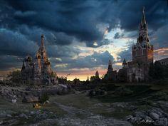 Zerstörtes Moskau bei Nacht