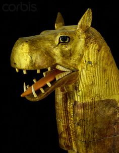 Head of a funerary couch in the form of the  hippopotamus goddess, Ammut, from the tomb of Tutankhamun