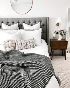 Borchers Upholstered Panel Bed - Home Decoration Ideas - Bedroom Cozy Bedroom, White Bedroom, Home Decor Bedroom, Budget Bedroom, Bedroom Curtains, Bedroom Inspo Grey, White Comforter Bedroom, Grey Bedding, Bedroom 2018