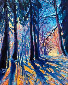 "Acrylic, linen 40 * 50 cm ""Frost and Sun"" Landscape Prints, Landscape Art, Landscape Paintings, Urban Landscape, Mary Cassatt, Illustration Art, Illustrations, Modern Impressionism, Edvard Munch"