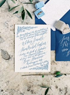 Calligraphy blue invitations suite: http://www.stylemepretty.com/2016/01/18/intimate-tuscan-wedding-florence-engagement/ | Photography: Vicki Grafton - http://www.vickigraftonphotography.com/