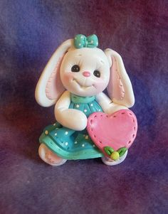 *POLYMER CLAY ~ Rabbit Bunny Birthday Cake Topper Christmas Ornament Personalized Polymer Clay | eBay