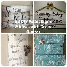Its no surprise that pallet signs have become super popular with crafters and DIY fanatics. This is a project that beginners can feel confident about trying & advanced DIYers can stretch their skills with fancy lettering and unique color combinations. Pallet Crafts, Diy Pallet Projects, Wood Crafts, Wood Projects, Fun Crafts, Woodworking Projects, Craft Projects, Pallet Ideas, Woodworking Workbench