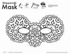 New Year First Grade Holiday Paper Projects Worksheets: Snow Mask Coloring